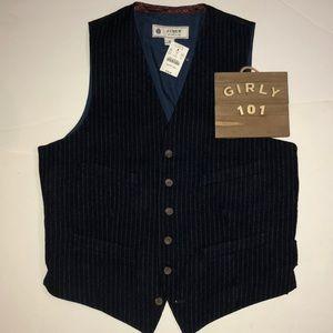 New J Crew wool pinstripe ludlow vest size medium